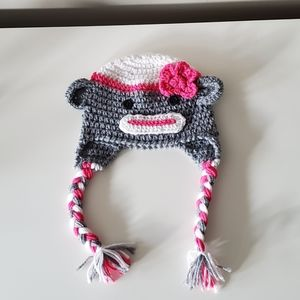 Sock Monkey Knitted Hat 6-12 Months  NEW